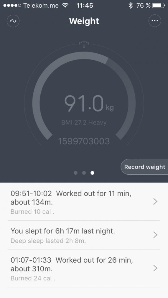Xiaomi MI Band ваш вес